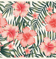 hibiscus pink palm leaves dark green pattern vector image vector image