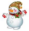 Isolated stands snowman funny Christmas character vector image vector image