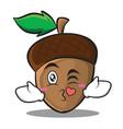 kissing heart acorn cartoon character style vector image vector image