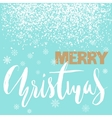 Merry Christmas gold lettering design on blue vector image vector image