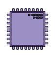 microchip closeup icon silhouette in purple color vector image vector image