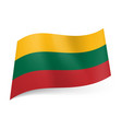national flag of lithuania yellow green and red vector image vector image