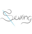 needle symbol for sewing and cutting vector image vector image