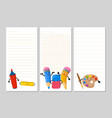 notepad pages with cute cartoon pencils eraser vector image