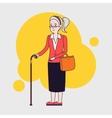 old stylish woman using cane senior lady vector image
