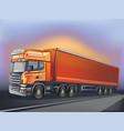 orange truck in motion vector image vector image