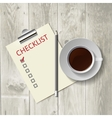 Pencil lying on the list Morning coffee work vector image