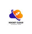 rocket cloud logo design template cloud tech logo vector image