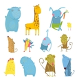 set animals cartoon vector image vector image