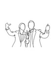 silhouette business man and woman hand vector image