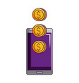 smartphone coins money online shopping vector image