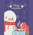 snowman with glove and chocolate cup merry vector image
