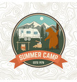 summer camp patch concept for shirt or vector image vector image