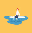 surfer man sitting on his board taking a rest vector image vector image