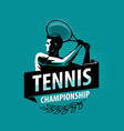 tennis championship logo or label sport concept vector image vector image