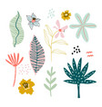 tropical leaves jungle flat set jungle hand drawn vector image