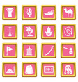 turkey travel icons set pink square vector image vector image