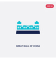 two color great wall china icon from asian vector image