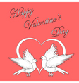 Two doves with a heart vector image vector image
