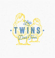 little twins duck farm abstract sign vector image