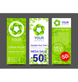 Set banners fresh green leaves Spring or summer vector image