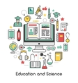 Education and Science Line Art Thin Icons vector image