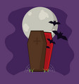 bats inside vampire coffin with spiderweb and moon vector image