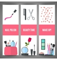 Beauty banner design Cosmetic accessories for vector image