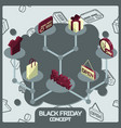 black friday color concept isometric icons vector image vector image
