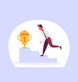 businessman climbing podium first place trophy vector image