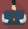 Businessman hand holding briefcase full of money vector image vector image