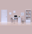 cabinet interior realistic home office mockup vector image