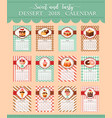 calendar template 2018 of bakery desserts vector image vector image