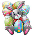 cartoon bunny with big easter eggs on a white back vector image