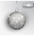 christmas bauble silver glitter isolated on white vector image
