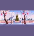christmas ice rink with decorated xmas fir tree vector image vector image