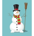 christmas snowman isolated on blue background vector image vector image