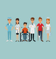 color background group team specialist doctors vector image vector image