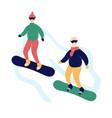 couple modern elderly people snowboarding vector image