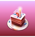 Delicious chocolate cake with candle vector image