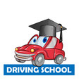 driving school car cartoon isolated on white vector image