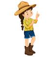 Farm girl in yellow shirt vector image vector image
