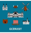 Germany travel and tourism flat icons vector image vector image