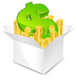 gold coin box vector image vector image