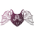 hand drawn cat with wings vector image