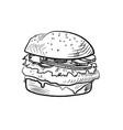 hand drawn of sketch cheeseburger vector image vector image