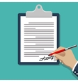 Hand signing document Man writing on paper vector image