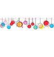 hanging christmas balls memphis style celebratory vector image vector image