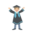 Happy Boy In Graduation Mantle And Square Black vector image