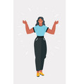 happy girl hands up in air vector image